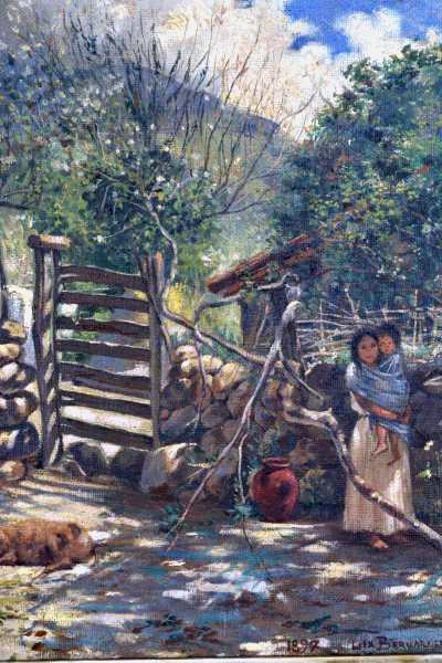 BERNARDELLI, Félix (1866 - 1905) Mãe e filha, o.s.t. - 36 x 28 cm. Ass. e dat. 1897.