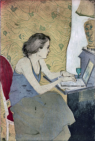 Elizabeth HeckEllen Heck, Elizabeth on her Laptop (2009) Woodcut, drypoint and aquatint.