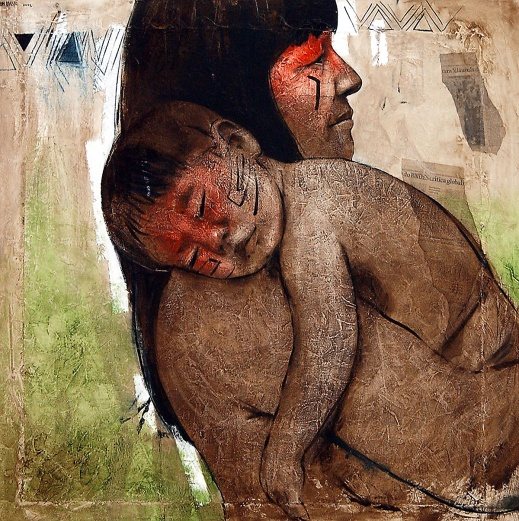 ELON BRASIL - Maternidade Kamayurá - Mista sobre tela
