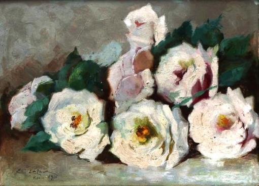 EUGÊNIO LATOUR (1874-1942) - Natureza Morta - Rosas,óleo sobe madeira, 24 x 33cm, 1910