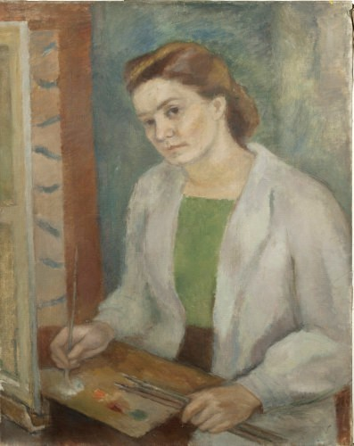 Florența Pretorian. Selfportrait, oil on canvas; 92 x 73 m.