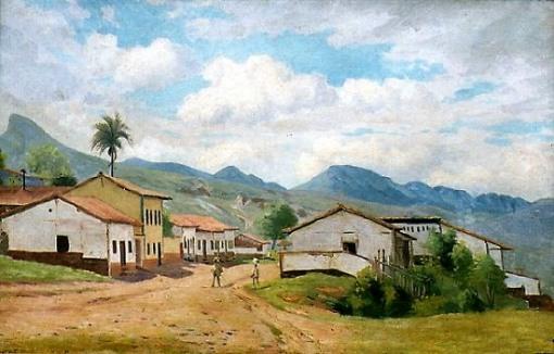 Hipólito Boaventura Caron (Brasil, 1862–1892)Paisagem com casa em vilarejo,1891, ost,47 x 72 cm, Museu Mariano Procópio, Juiz de Fora, BR