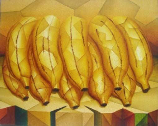 Hugo Espiritu - (peru-brasil)OST, ACID. - Natureza Morta Geométrico - Bananas - Mede 104x84cm.