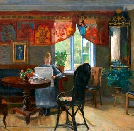 Kitty Lange Kielland, interior com mulher lendo, ost,