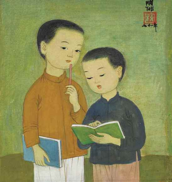 MAI TRUNG THU (VIETNAM, 1906-1980), Os escolares, 1971, ink and gouache on silk in the original frame,17 x 16 cm