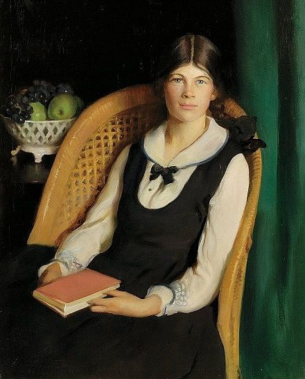Portrait of a Young Girl Seated with a Book - Adelaide Cole Chase (American, 1868-1944)