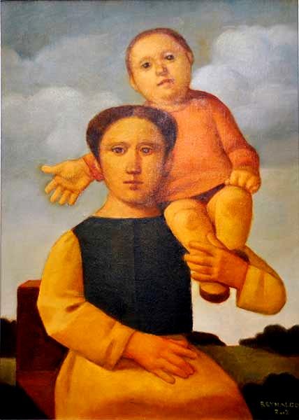 REYNALDO FONSECA (1925) - Mãe e Filho. Óleo s tela. Ass. cid. Ass. e datado no verso.Med. 70 x 50 cm.