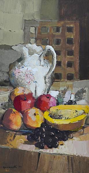 ROMANELLI, Armando (1945) -Jarra e Frutas, óleo sobre chapa de madeira industrializada - 70 x 35 cm. Assinado e datado 79 frente e verso