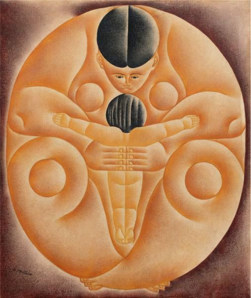 Vicente do Rego Monteiro (Brasil, 1899-1970) Maternidade, acrílica sobre tela, década de 1960, 63 x 53 cm