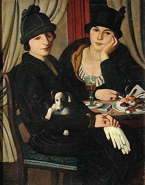 Women in a Cafe 1924 oil painting by Pietro Marussig,