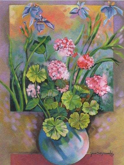 Yara tupinambá, flores roxas, 1989, tela colado em eucatex, 85x65