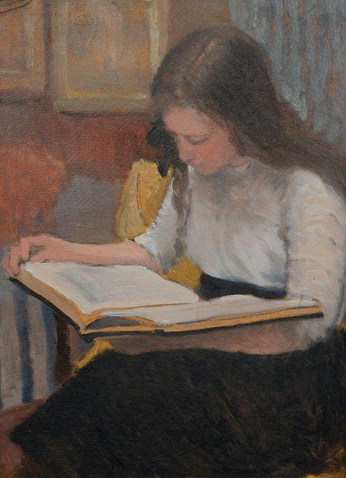Armand Rassenfosse (Bélgica, 1862-1934)Leitura, 1906, ospapelão35 x 26 cm