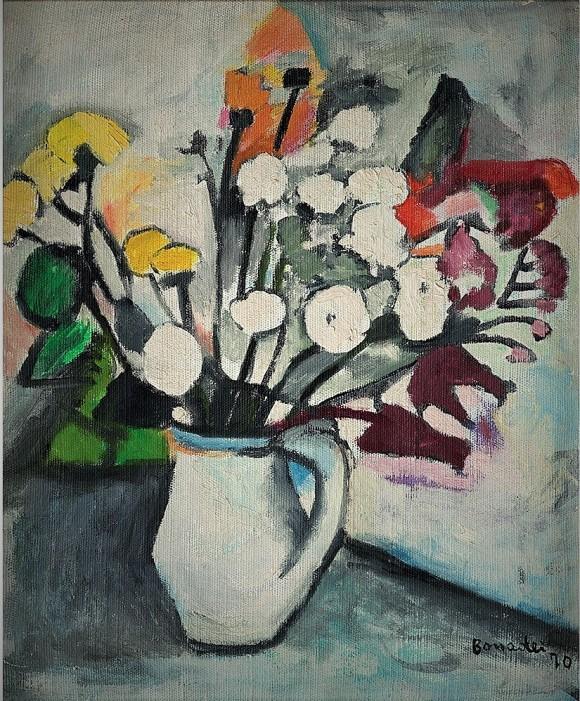 Bonadei, vaso com flores, 1970, ost,48 x 40 cm
