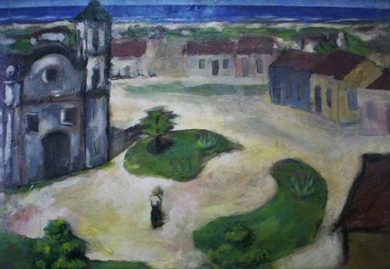 Carlos Prado (1908 - 1992),Paisagem com Igreja,Óleo sobre madeira,48 x 69 cm