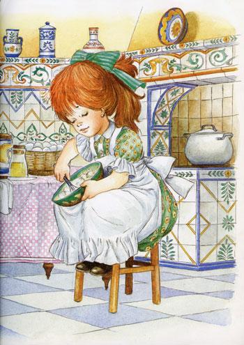 cozinha, bolo, menina, ajudando