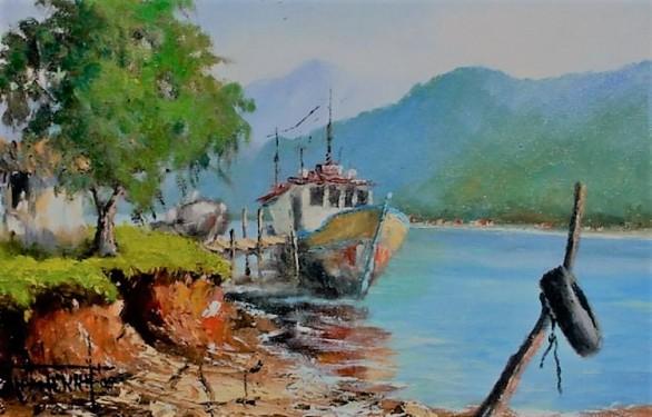 daniel-penna-brasil-sc3a3o-paulo-1951-casa-de-pescador2005-c3b3leo-sobre-tela-20x30