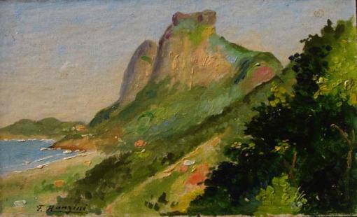 Felisberto Ranzini (1881-1976) Pedra da Gávea vista da Rocinha (1939) Óleo sobre cartão 10 x 16 cm