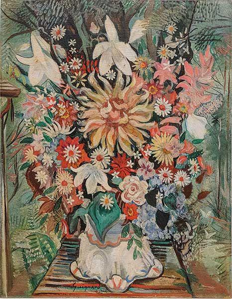GUIGNARD, ALBERTO DA VEIGA,(Brasil,1896-1962)Vaso de Flores,os madeira, 1941,70 x 55 cm