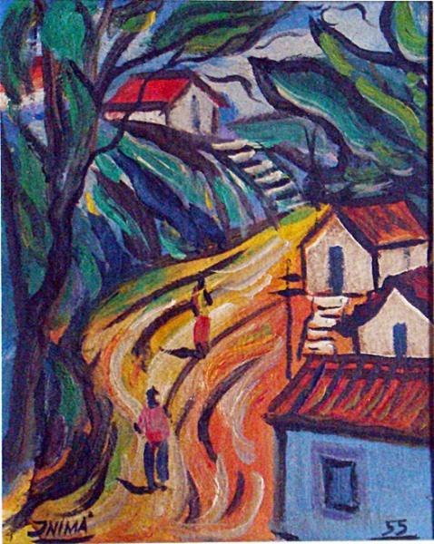 Inimá de Paula - paisagem cena rural de 1955, óleo sobre cartão, 20cm x 16cm, assinado no CIE