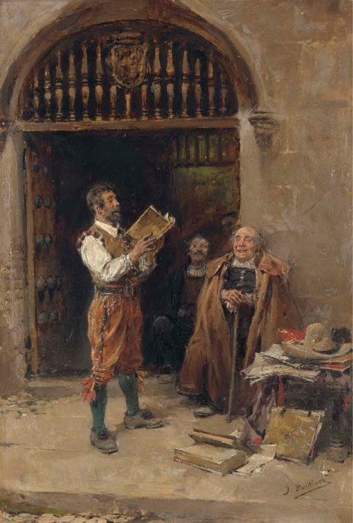 José Benlliure y Gil (Spanish, 1855-1914)A Good Tale, 'J. Benlliure' oil on panel, 21 x 32 cm