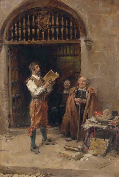 José Benlliure y Gil (Spanish, 1855-1914)A Good Tale, 'J. Benlliure' oil on panel, 21 x 32 cm