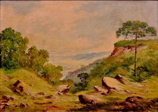 LADISLAU NAHLOWSKY - Paisagem Paranaense com Araucárias, pintura a óleo sobre tela, med. 50 x 70cm, assinado