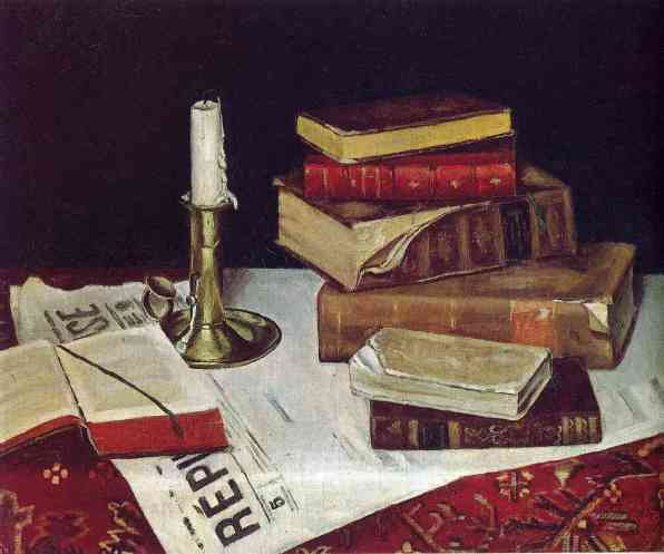 Matisse,still-life-with-books-and-candle-1890