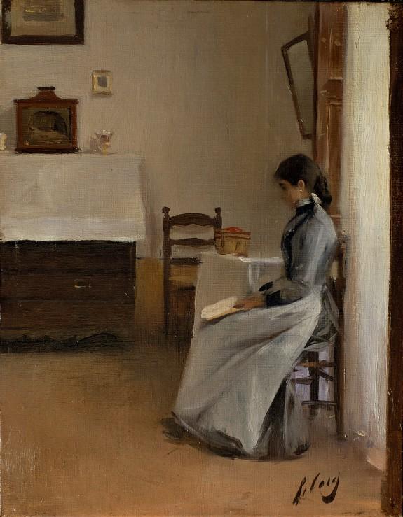 RAMON CASAS (Espanha, 1866-1932)Entre capítulos, 1890-, ost, 41x 32, Museu Nacional d_art de Catalunya.