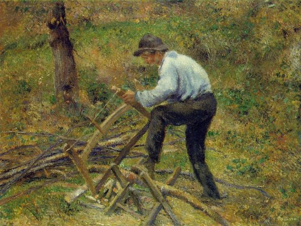 The Woodcutter by Camille Pissarro (oil on canvas, 35x45-3-4 Court