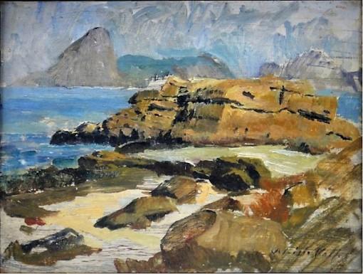 ALUISIO VALLE (1906-1988). Rio de Janeiro visto por Niterói, óleo smadeira, 27 x 35. Assinado no c.i.d.