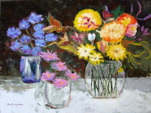 Anita Gueiros - quadro óleo sobre Tela Flores 60x80cm