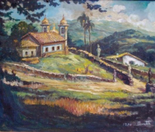 Benneti Casareto Motta, OSE, paisagem, Pelotas, 1980, emoldurado, 57x67cm