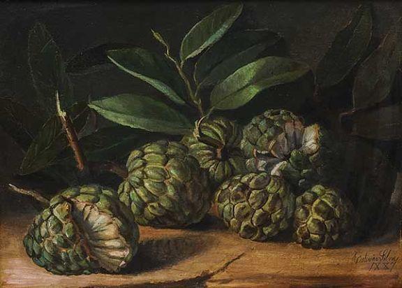 ESTEVÃO SILVA(BRASIL, 1841-1891)Fruta do Conde,osm, 1887, 36 x 48 cm