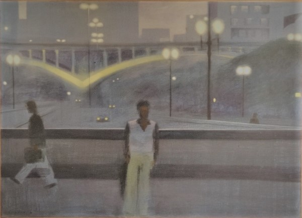 Gregório Gruber - Anhangabaú, acrílica sobre tela, datada de 1980, medindo 100 x 140 cm