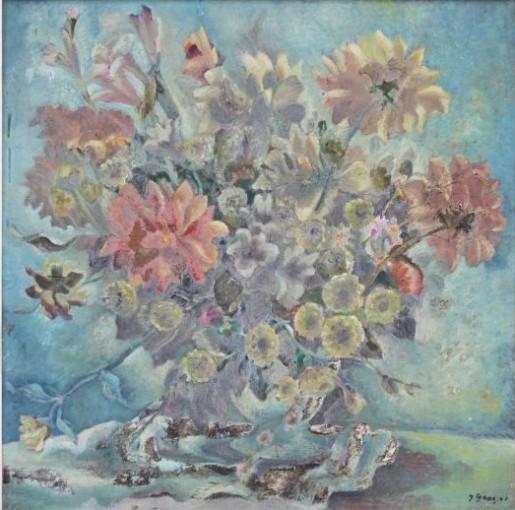 John graz ( Genebra 1891-São Paulo 1980)vaso com flores, 1943,osm, 64 x 74 cm