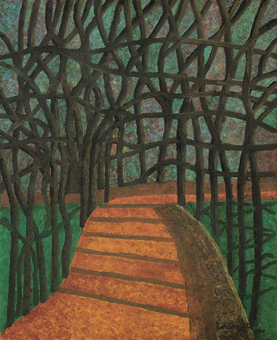 Lorenzato, Luciano Amadeo, Estrada arborizada, oschapa de madeira indust., 1990, 90x 70cm