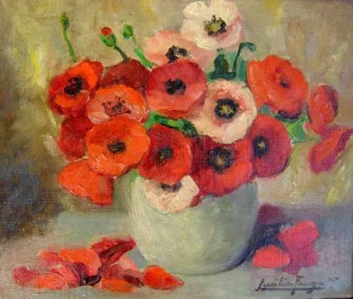 LUCILIA FRAGA - (1895 - 1979)- Flores vermelhas, - osc - 27 x 32- cid