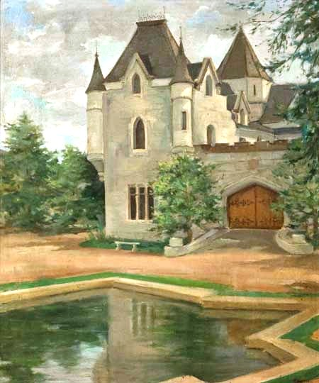 Milton Dacosta, Castelo do Barão Smith de Vasconcellos, Itaipava, RJ, 1945, 55x46,ost