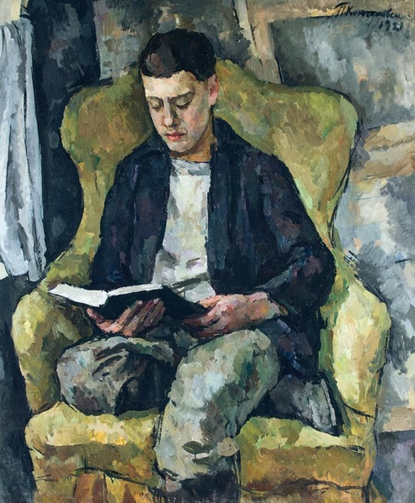 Petr Konchalovsky(Russia,1876 – 1956) Portrait of Mikhail Konchalovsky, the artist_s son, sitting in an armchair,1921, ost, 119 x 140 cm