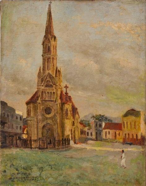 SILVIO PINTO - Igreja de São Cristovão OST., Assinado canto inferior esquerdo e datado de 1945. Med. 50x40 cm.