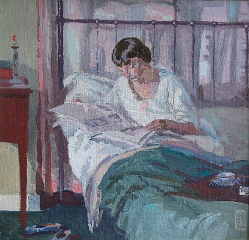 Walter Bay 1869-1915, Reading in bed (the artists wife)osm,