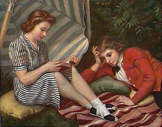 William Dean Fusett (EUA,1880-1948 )Tarde de verão, 1943, óleo e têmpera sobre placa, 75 x 95cm