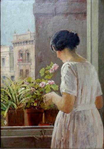 ARTHUR TIMÓTHEO DA COSTA, óleo sobre cartão, datado de 1918, representando figura feminina na janela, medindo 49 x 70 cm.