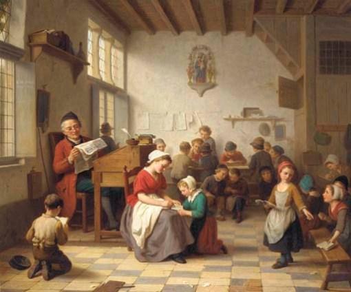 Basile Loomes (Belgica, 1809-1885), Escola do vilarejo, 1864, ost, 68 x 80 cm