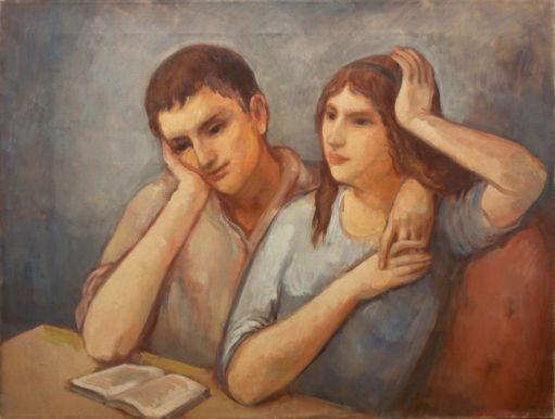 Bernard Karfiol (Hungria 1866-EUA1952)Jorge e Virginia lendo um livro, 1924Óleo sobre tela, 50 x 66cm
