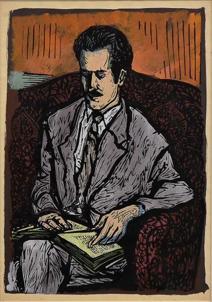 CARLOS SCLIAR. Linoleogravura à cores. A Leitura. Assinado. 32 x 22 cm