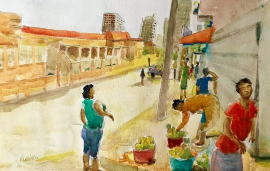 Fruit for sale, Luanda, Watercolour Painting by Ronan Cahill
