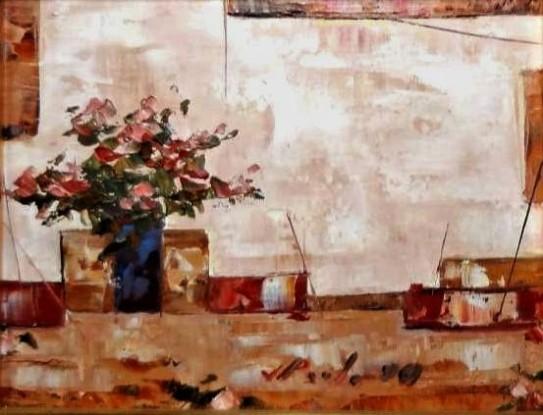 JOSÉ PAULO Moreira da Fonseca (1922 - 2004) Vaso de Flores, o.s.t. - 19 x 24 cm. Ass. e dat. 90
