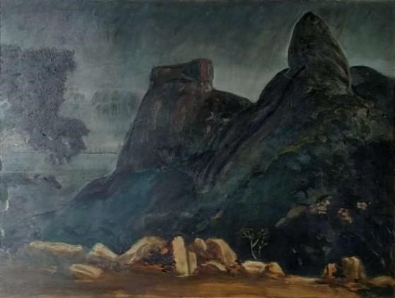Paulo Cláudio Rossi Osir (Brasil, 1890-1959), Pedra da Gávea, osm, localizado e datado, Rio 1925, 56 cm por 74 cm