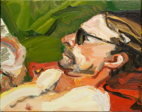 Robert Malherbe Luke reading in Hill End 2014 oil on linen 40.5 x 51.0 cm